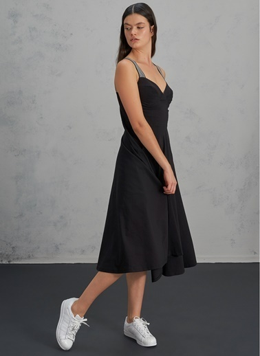 Pi π Askı Detaylı Elbise Siyah